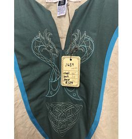 Cloak and Dagger Creations J639 - Cream Linen Tunic w/Blue Trim, Green Cotton Yoke, Viking Dragon Embroidery