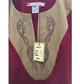Cloak and Dagger Creations J640 - Red Short Sleve Tunic , Red Trim, Viking Dragon Embroidery on Mustard Yoke