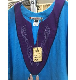 Cloak and Dagger Creations J643 - Turquoise Blue Linen Tunic , Deep Blue Trim, Purple Yoke w/Viking Dragon Embroidery