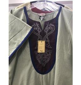 J647  Natural Linen Blend Tunic, Maroon Bib, Viking Dragons & Celtic Knot