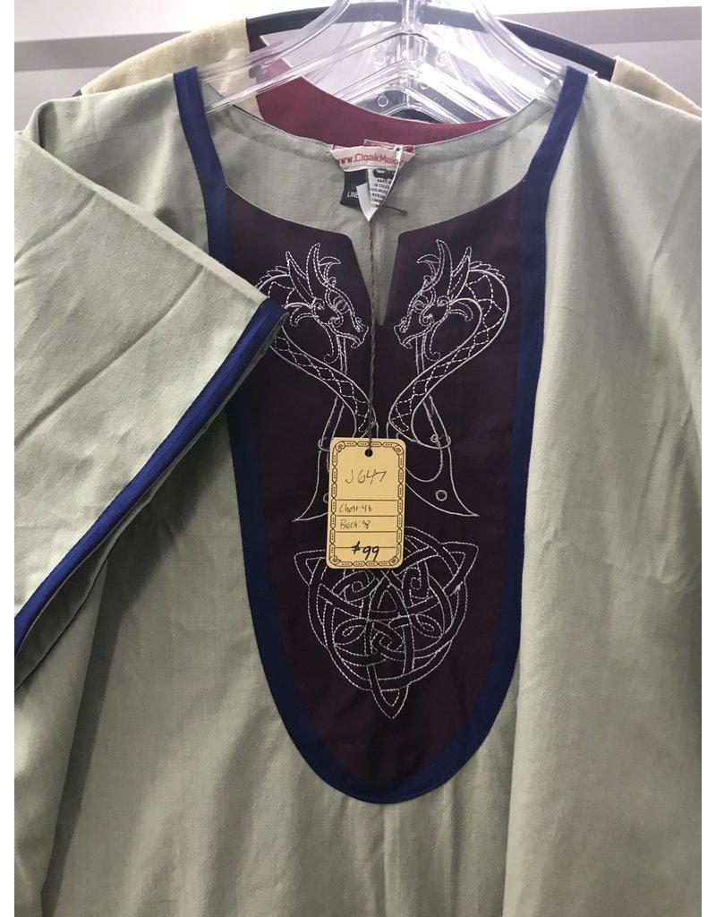 Cloak and Dagger Creations J647  Natural Linen Blend Tunic, Maroon Bib, Viking Dragons & Celtic Knot