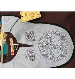Cloak and Dagger Creations J655 - Eggplant Purple Sleeveless Tunic w/Vents, Light Blue Yoke, Knotted Beast & Tree of Life Knot Embroidery, Narrow Black Trim