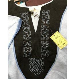 J656 - Light Blue Short Sleeve Tunic, Black Yoke, Simple & Heart Celtic Knot Embroidery, Thin Blue Trim
