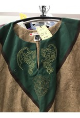 Cloak and Dagger Creations J657 - Brown Sugar Short Sleeve Linen Tunic, Forest Green Yoke, Celtic Dragon & Knot embroidery, Brown Trim