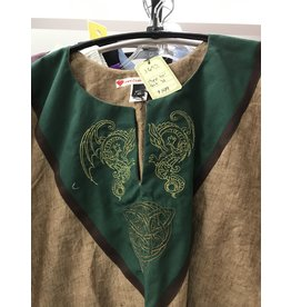 J657 - Brown Sugar Short Sleeve Linen Tunic, Forest Green Yoke, Celtic Dragon & Knot embroidery, Brown Trim