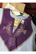 Cloak and Dagger Creations J664 - Light Blue Short Sleeve Linen Tunic, Purple Yoke w/Ravens & Heart Knot Embroidery, Grey Trim