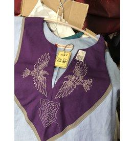 J664 - Light Blue Short Sleeve Linin Tunic, Purple Yoke w/Ravens & Heart Knot Embroidery, Grey Trim