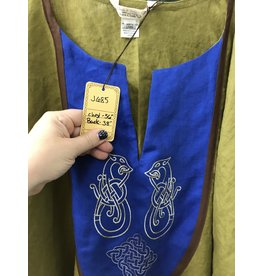 Cloak and Dagger Creations J685 - Dusky Olive Short Sleeve Linen Tunic, Medium Blue Bib w/Celtic Ferret & Square Celtic Knot Embroidery, Medium Brown Edging