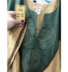 J686 - Caramel Brown Short Sleeve Linen Tunic, Forest Green Yoke w/ Winged Dragon & Tree of Life Embroidery, Brown Edging