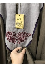 Cloak and Dagger Creations J671 - Brown Summer Cotton Long Sleeve Tunic, Grey Yoke w/Wolf Face Embroidery, Purple Trim