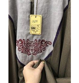 J671 - Brown Summer Cotton Long Sleeve Tunic, Grey Yoke w/Wolf Face Embroidery, Purple Trim
