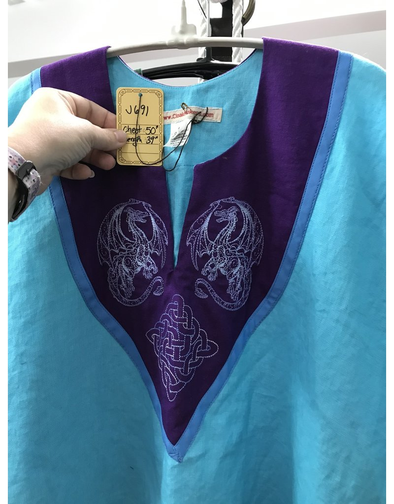 Cloak and Dagger Creations J691 - Turquoise Blue Linen Short Sleeve Tunic, Purple Yoke w/Doodle Dragon & Celtic Knot Embroidery, Cornflower Blue Edging