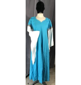 G1035 - Turquoise V-neck Gown w/ White Droppped Sleeves, Pockets, Knotwork Blocks & Rickrack Trim