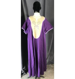 Cloak and Dagger Creations G1046 - Purple Short Sleeve Gown w/Pockets, Cream Yoke w/Viking Dragon, Celtic Knot Embroidery, Lavender Trim