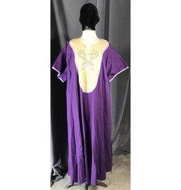 G1046 - Purple Short Sleeve Gown w/Pockets, Cream Yoke w/Viking Dragon, Celtic Knot Embroidery, Lavender Trim