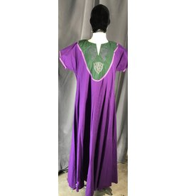 Cloak and Dagger Creations G1041 - Purple Gown, Green Yoke w/Embroidered Purple Dragons & Celtic Knot, Medium Purple Trim