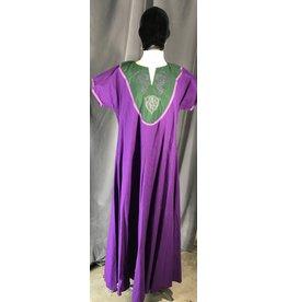 Cloak and Dagger Creations G1041 - Purple Gown, Green Yoke w/Embroidered Purple Dragons & Celtic Knot, Medium Purple Trim
