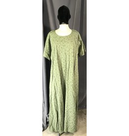 G1088 - Sage Green Short Sleeve Gown w/ Curly Vine & Flower Embroidery Pattern, Pockets