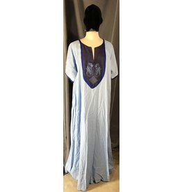 Cloak and Dagger Creations G1089- Pale Blue Short Sleeve Gown, Indigo Blue Yoke w/Celtic Ferrets & Square Knot Embroidery, Medium Blue Trim
