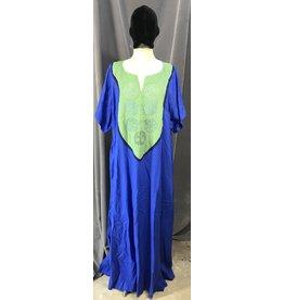 Cloak and Dagger Creations G1090- Medium Blue Short Sleeve Gown, Mantis Green Yoke w/Celtic Cat Circles & Tree of LIfe Embroidery, Navy Blue Trim