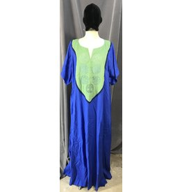 G1090- Medium Blue Short Sleeve Gown, Mantis Green Yoke w/Celtic Cat Circles & Tree of LIfe Embroidery, Navy Blue Trim