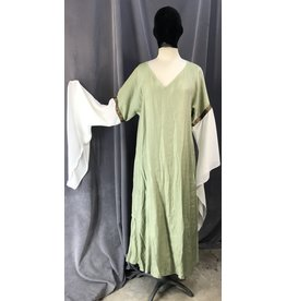 G1091 - Tea Green White Sleeve Easy Care Gown, Mini Stained Glass Trim,w/Pockets