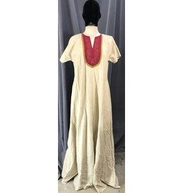 G1092 - 100% Linen Short Sleeve Tiny Tan Gingham Gown w/Pockets, Red Bib w/ Historical Pictish Celtic Neckline Embroidery, Mustard Yellow Trim.