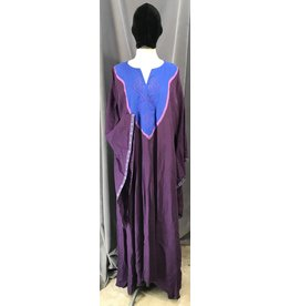 G1093 - Purple Linen Gown, Drop Sleeves, Pockets, Medium Blue Yoke w/Viking Dragon & Square Celtic Knot Embroidery, Medallion Trim Trim
