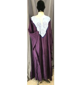 G1094 - Purple Dropped Trailing Sleeve Linen Gown, Pale Blue Yoke w/Winged Dragon & Tree of Life Embroidery Trimmed Navy Blue, POCKETS!