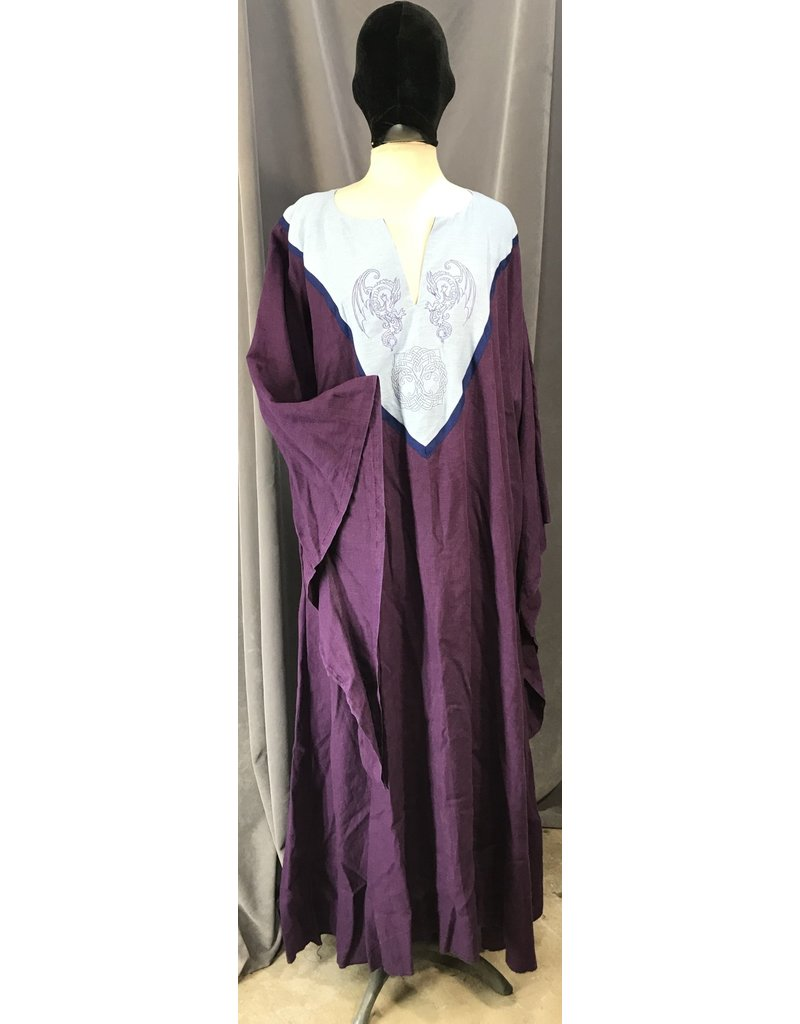 Cloak and Dagger Creations G1094 - Purple Dropped Trailing Sleeve Linen Gown, Pale Blue Yoke w/Winged Dragon & Tree of Life Embroidery Trimmed Navy Blue, POCKETS!