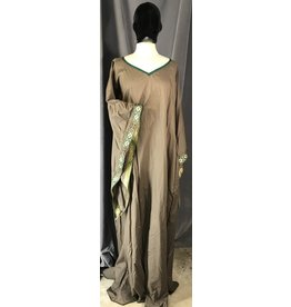 G1086 - Brown Summer Cotton Gown, Wide V Neck, Flared Sleeves Trimmed in Green Medalion Trim
