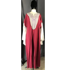G1045 - Red Gown w/Pockets, Grey Yoke w/Embroidered Purple Dragons, Celtic Knot, Red Trim, White Sleeves