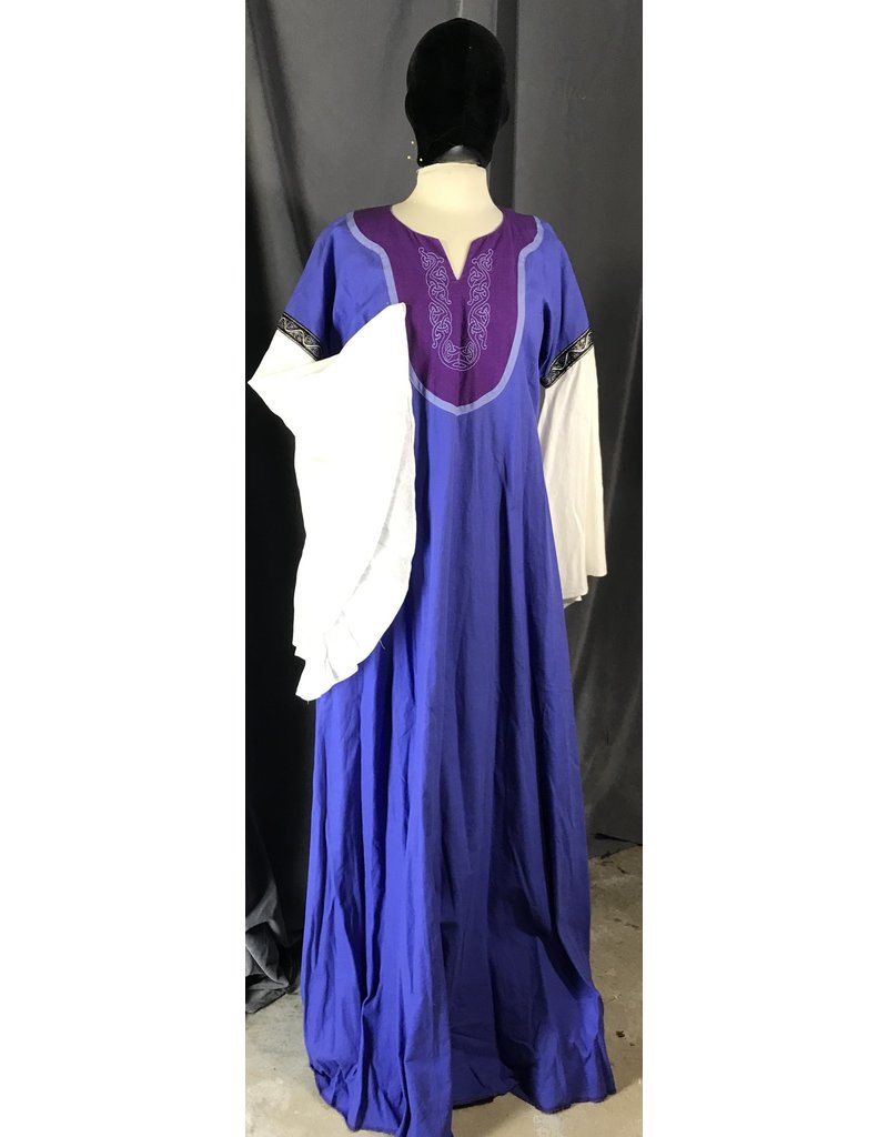 Cloak and Dagger Creations G1048 - Periwinkle Blue Linen Blend Gown, Purple Yoke, Celtic Vine Embroidery, Pockets, White Sleeves