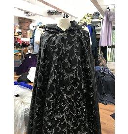 4081 - Black w/Silver Flourish Full Circle Cloak, Black Hood Lining, Pewter Vale Clasp - Washable!