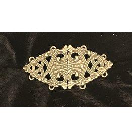 Formal Renaissance Knotwork Cloak Clasp - Antiqued Brass
