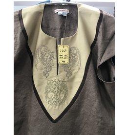 J669 - Sugar Brown Cap Sleeve Linen Tunic, Tan Cotton Yoke w/ Dragons & Tree of Life Knot Embroidery, Dark Brown Trim