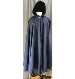 4057 - Water Resistant Navy Blue Full Circle Cloak, Matching Cotton Velveteen Hood Lining, Pewter Vale Clasp