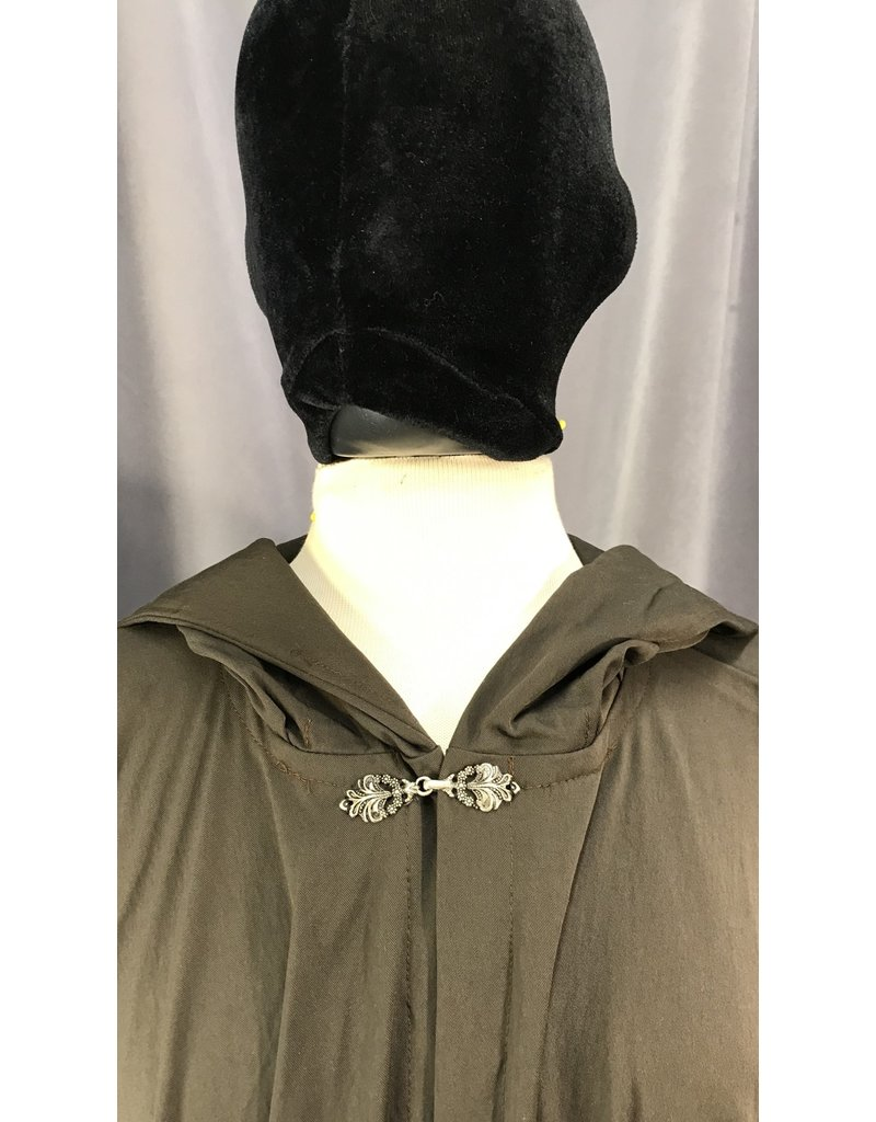Cloak and Dagger Creations 4060 - Chocolate Brown Full Circle Cloak, Unlined Hood, Unusual Pewter Clasp