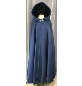 Cloak and Dagger Creations 4067 -Deep Steel  Blue Cloak w/Midnight Blue Velveteen Hood Lining, Pewter Triple Medallion Clasp