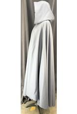 Cloak and Dagger Creations 4076 - Pale Slate Blue Wool Blend Full Circle Cloak, Royal Blue Cotton Velveteen Hood Lining, Pewter Triple Medallion Clasp