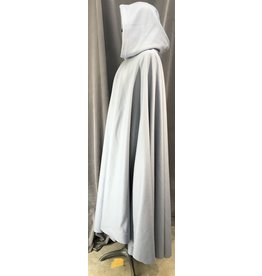 Cloak and Dagger Creations 4076 - Pale Slate Blue Wool Blend Full Circle Cloak, Royal Blue Cotton Velveteen Hood Lining, Pewter Triple Medallion Clasp