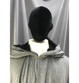 Cloak and Dagger Creations 4078 - Heathered Cool Grey Full Circle Cloak, Easy Care, Black Hood Lining, Pewter Vale Clasp