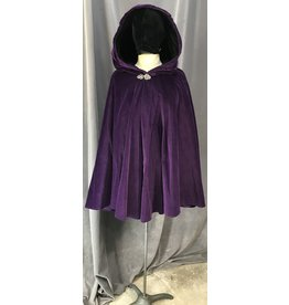 Cloak and Dagger Creations 4080 - Purple Cotton Velvet Full Circle Cloak, Black Cotton Velvet Hood Lining, Pewter Vale Clasp