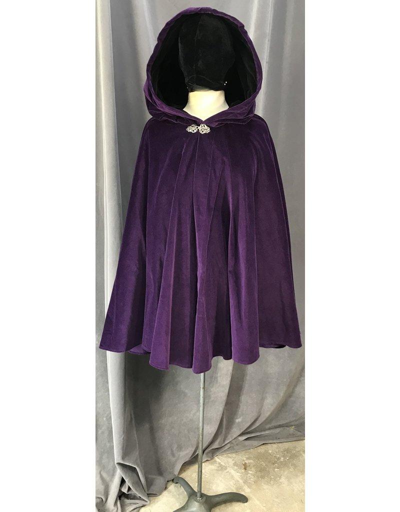 Cloak and Dagger Creations 4080 - Purple Cotton Velvet Full Circle Cloak, Black Cotton Velvet Hood Lining, Pewter Vale Clasp
