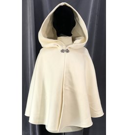 Cloak and Dagger Creations 4082 - Creamy White Wool Twill Shape Shoulder Short Cloak, Pewter Vale Clasp