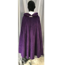 Cloak and Dagger Creations 4083 - Purple Cotton Velvet Shaped Shoulder Cloak, Black Velvet Hood Lining, Pewter Vale Clasp