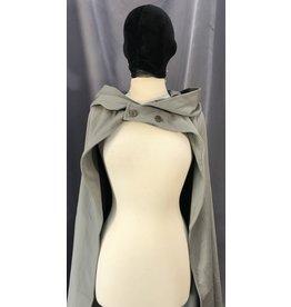 Cloak and Dagger Creations 4084 - Battleship Grey Easy Care Wool Blend Hobbit Cloak, Antique Brass-tone Buttons