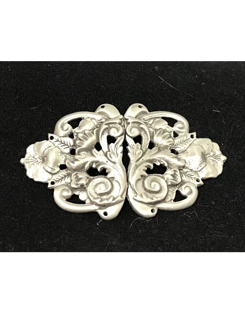 Cloak and Dagger Creations Formal Floral Renaissance Cloak Clasp - Pewter