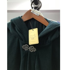 Cloak and Dagger Creations 4041 - Washable Hunter Green Wool Blend Shaped Shoulder Cloak, Pewter Vale Clasp