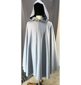 Cloak and Dagger Creations 4075 - Pale Slate Blue Wool Blend Shaped Shoulder Cloak, Matching Crushed Velvet Hood Lining, Pewter Triple Medallion Clasp